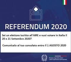 REFERENDUM COSTITUZIONALE DEL 20/09/2020